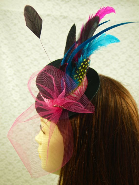 Black Mini Top Hat Fascinator Clip CARNIVAL by LoveJoyAdornments e84b93f4b8cd