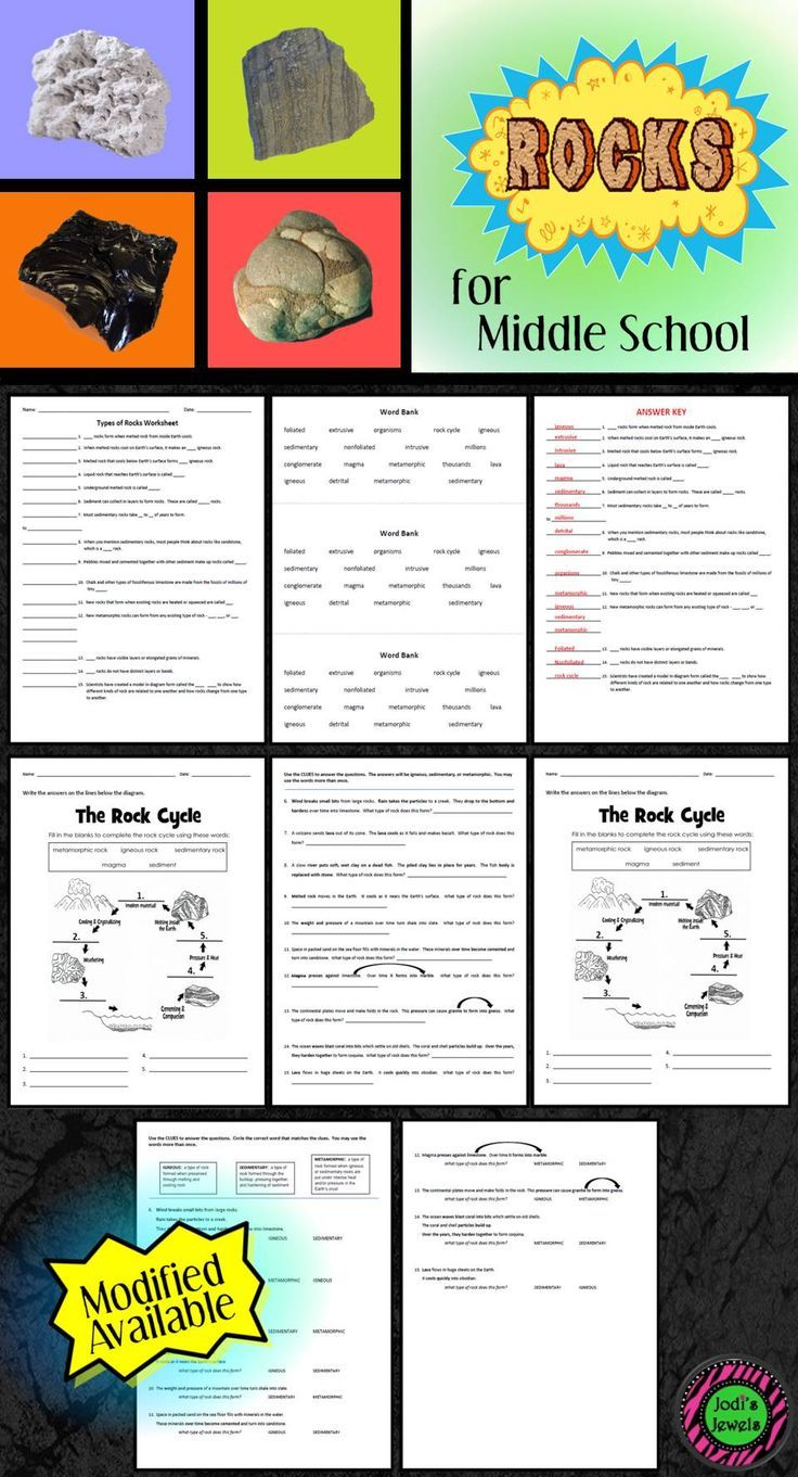 These Earth Science Worksheets Cover Igneous Metamorphic And Sedimentary Rocks A Modified Version Of T Middle School Science Co Teaching Learning Worksheets