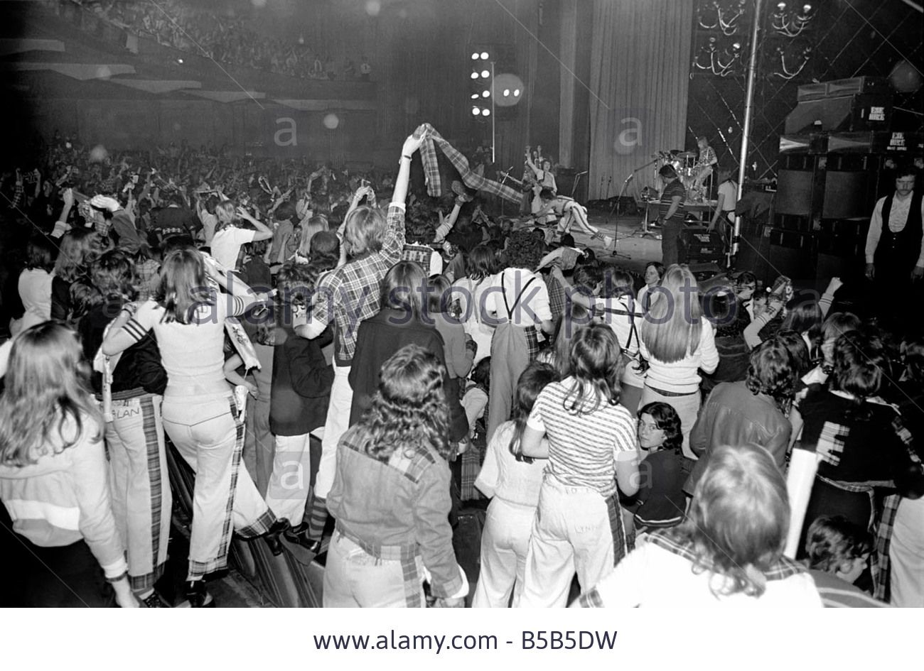 Fans Cheer As The Bay City Rollers Perform On Stage At Cardiff Stock Photo, Picture And Royalty Free Image. Pic. 20529429