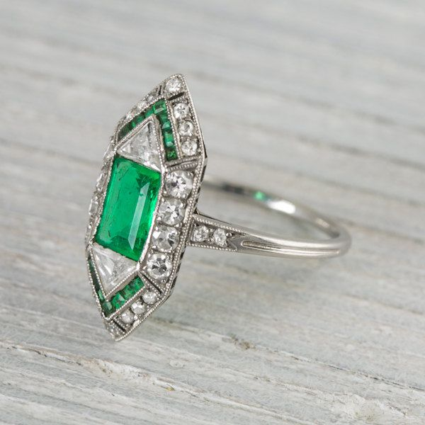 vintage deco 60 carat engagement ring by