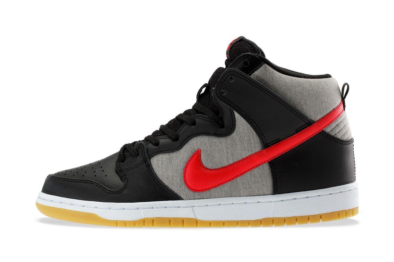 Nike Sb Dunk High Pro Black University Red Medium Grey Kicks Shoes Nike Sb Dunks Popular Sneakers