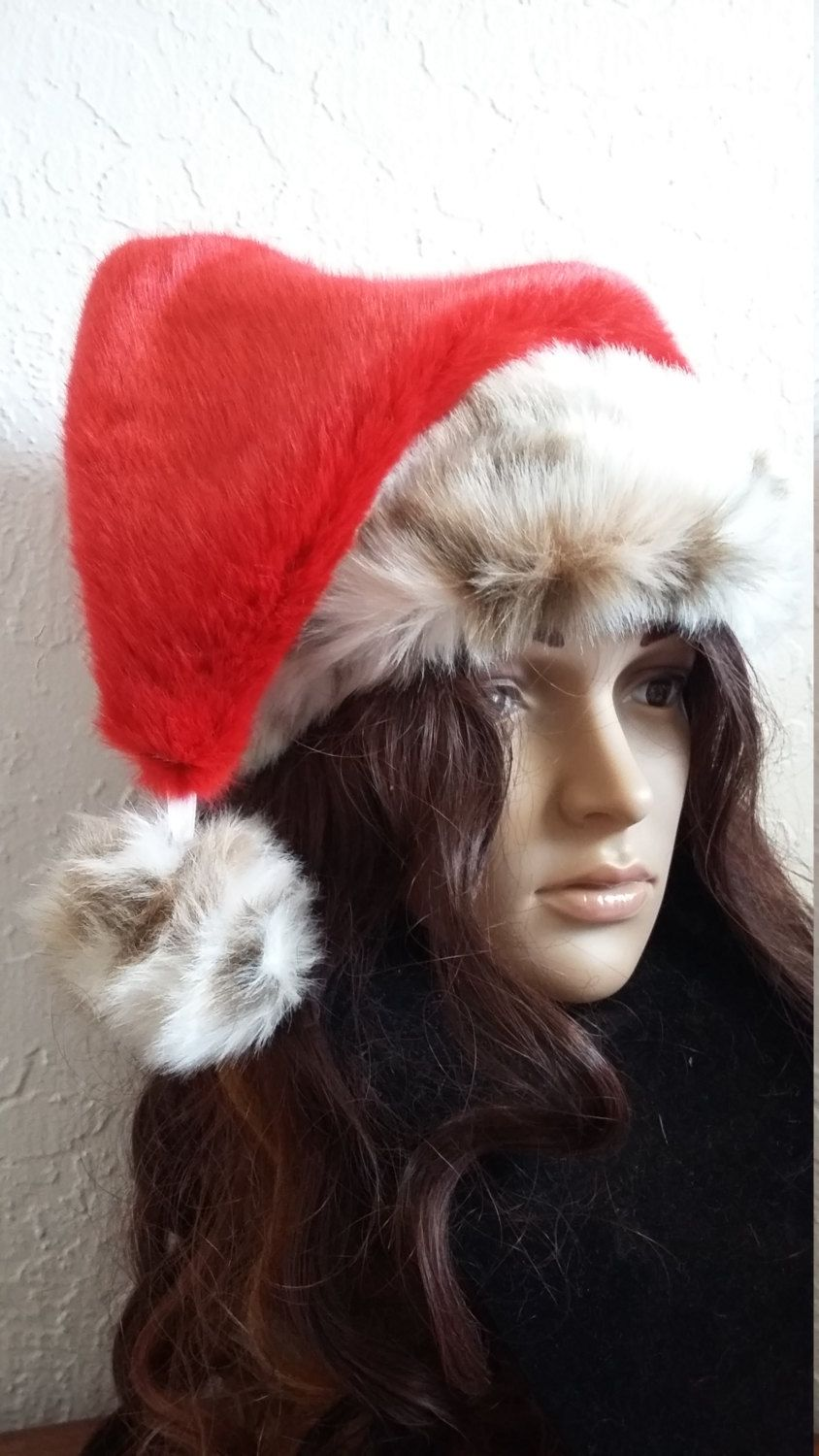 8110ccbf3d Limited Edition red Santa hat with leopard fur trim by OriginalsByEva on  Etsy