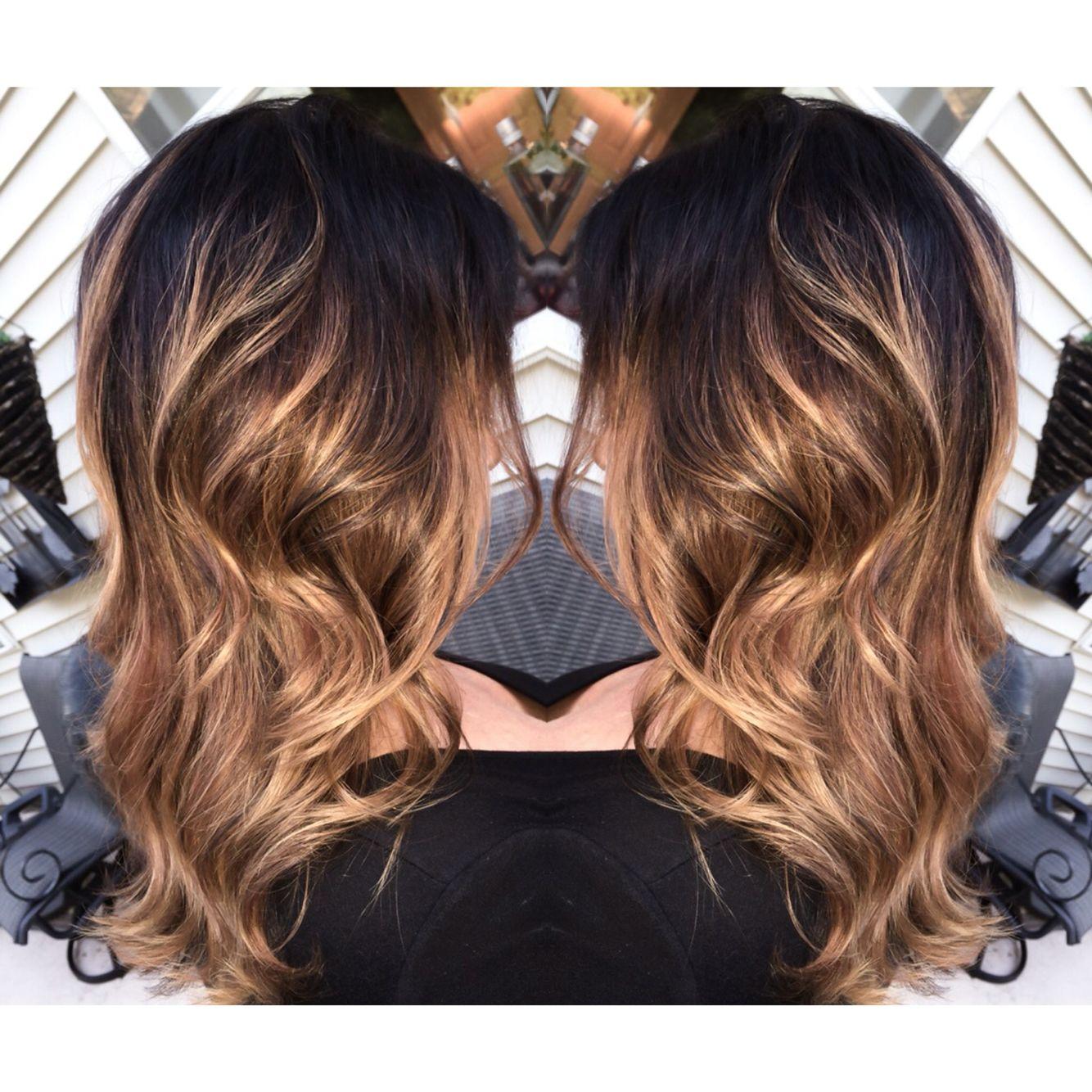 dark brown balayage, dark brown hair, caramel balayage, level 4 hair