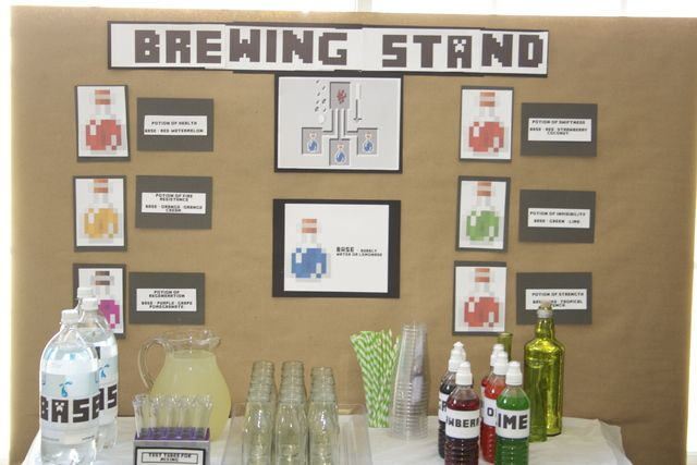 "Minecraft! / Birthday / Food & Drink: The brewing stand, probably the most fun the kids had!  We used seltzer water as the ""base"" and snowcone syrups for the Potions.  I had plastic test tubes, and the kids were able to follow the recipes on the board to create their potions, taken from the g"