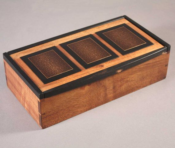 koa and black palm wood dovetailed jewelry or keepsake box Jewelry