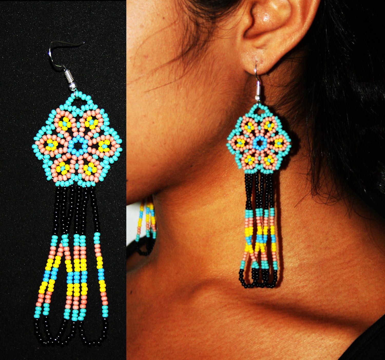 Beaded Huichol Earrings Huichol Jewelry Native American Beaded Earrings Beaded Hippie Hippie Chic Earrings Bead Work Jewelry Native American Beaded Earrings