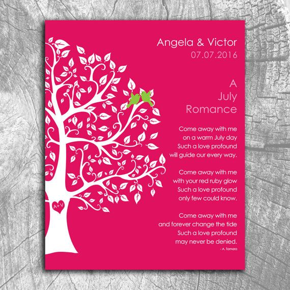 July Romance Love Poem Personalized Engagement Anniversary Gift For Wife Ruby Wedding Day Husband Paper