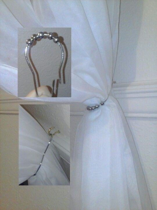 Curtain Tie Back Put Small Hook In Wall And Add A Shower Curtain