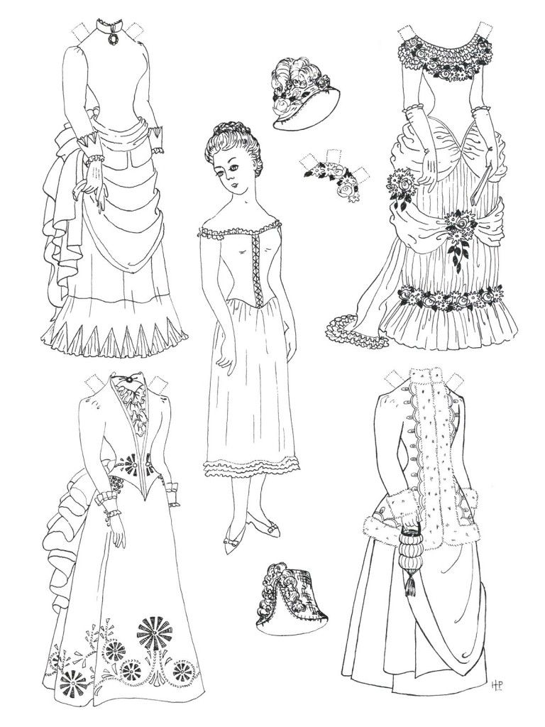 Paper Doll Coloring Pages To Print 768x1024