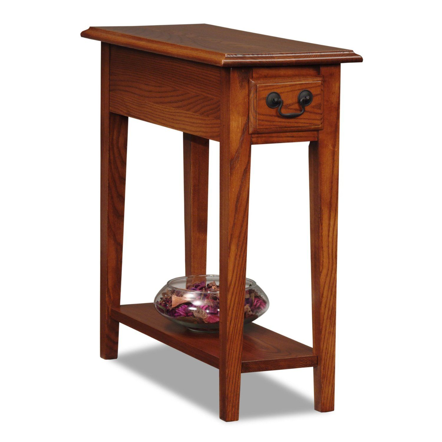 Amazon Com Leick Chair Side End Table Medium Oak Finish Narrow End Table Small End Tables Side Table Wood Chair Side Table