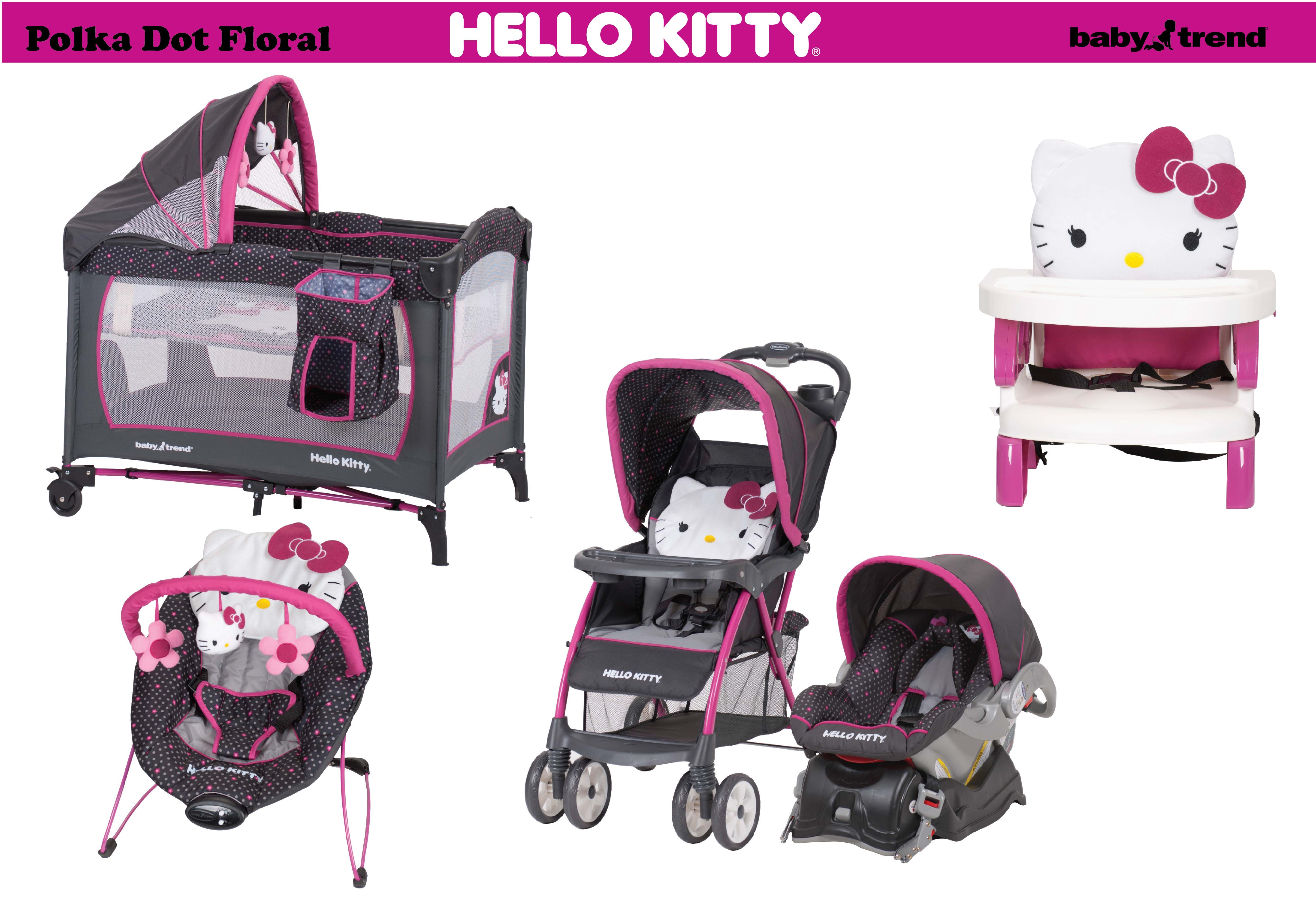 The Baby Trend Hello Kitty collection in Polka Dot Floral Fashion exclusively at Walmart