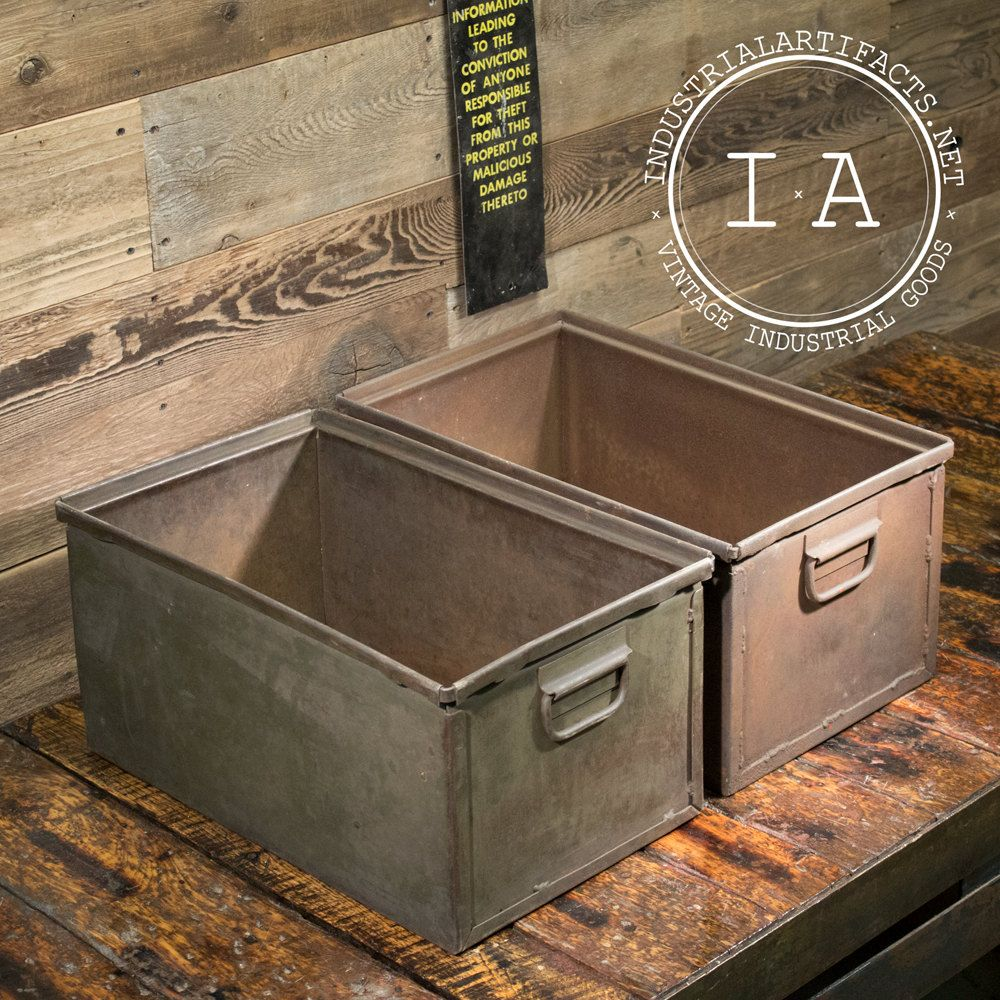 Vintage Industrial Metal Storage Bins Boxes Organizers Totes Chests Drawers Stackable Planters Metal Storage Bins Storage Bins Vintage Industrial