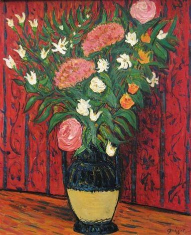 Vase vernisse avec des roses, fond rouge by Alphonse Léon Quizet