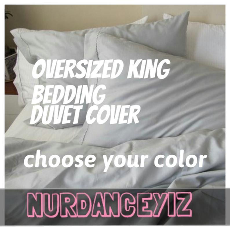 Oversized King Bedding Super King Duvet Cover 120x98 Solid Etsy Super King Duvet Covers Queen Size Duvet Covers King Size Duvet Covers