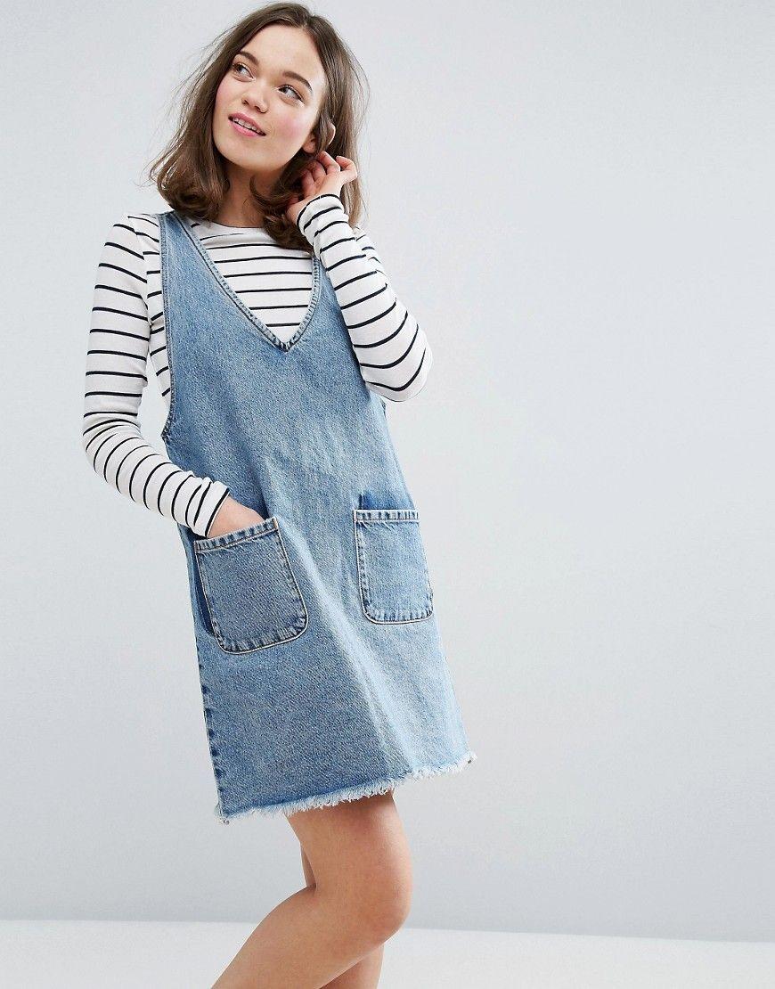 Monki V Neck Denim Dress - Blue
