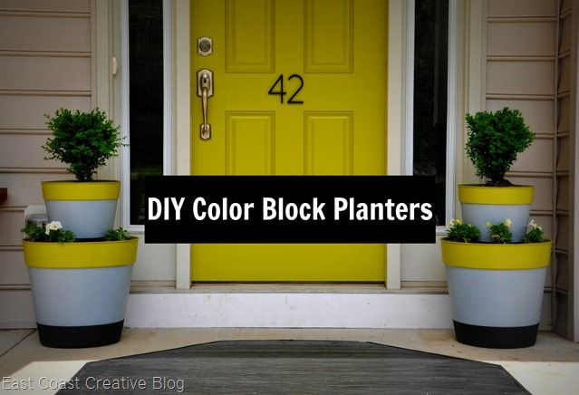 Spray painted color block planters