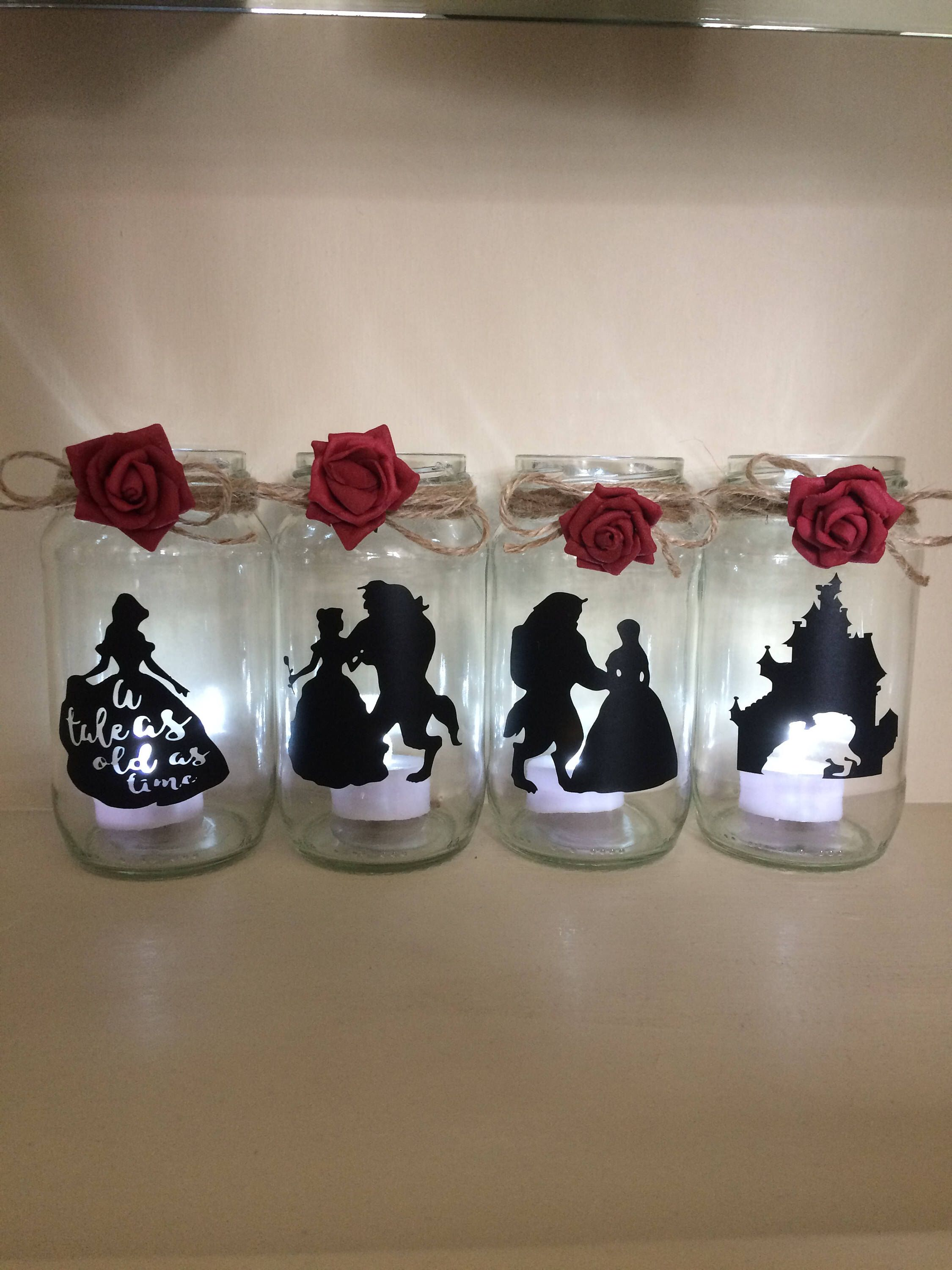 Beauty And The Beast Wedding Centerpiece Lantern Jar Belle Disney