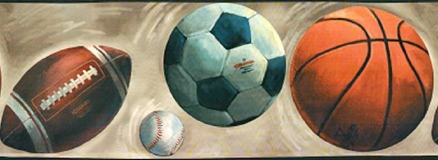 Balls Boys Sport Football Baseball Soccer Basketball Teen Wallpaper Wall Border