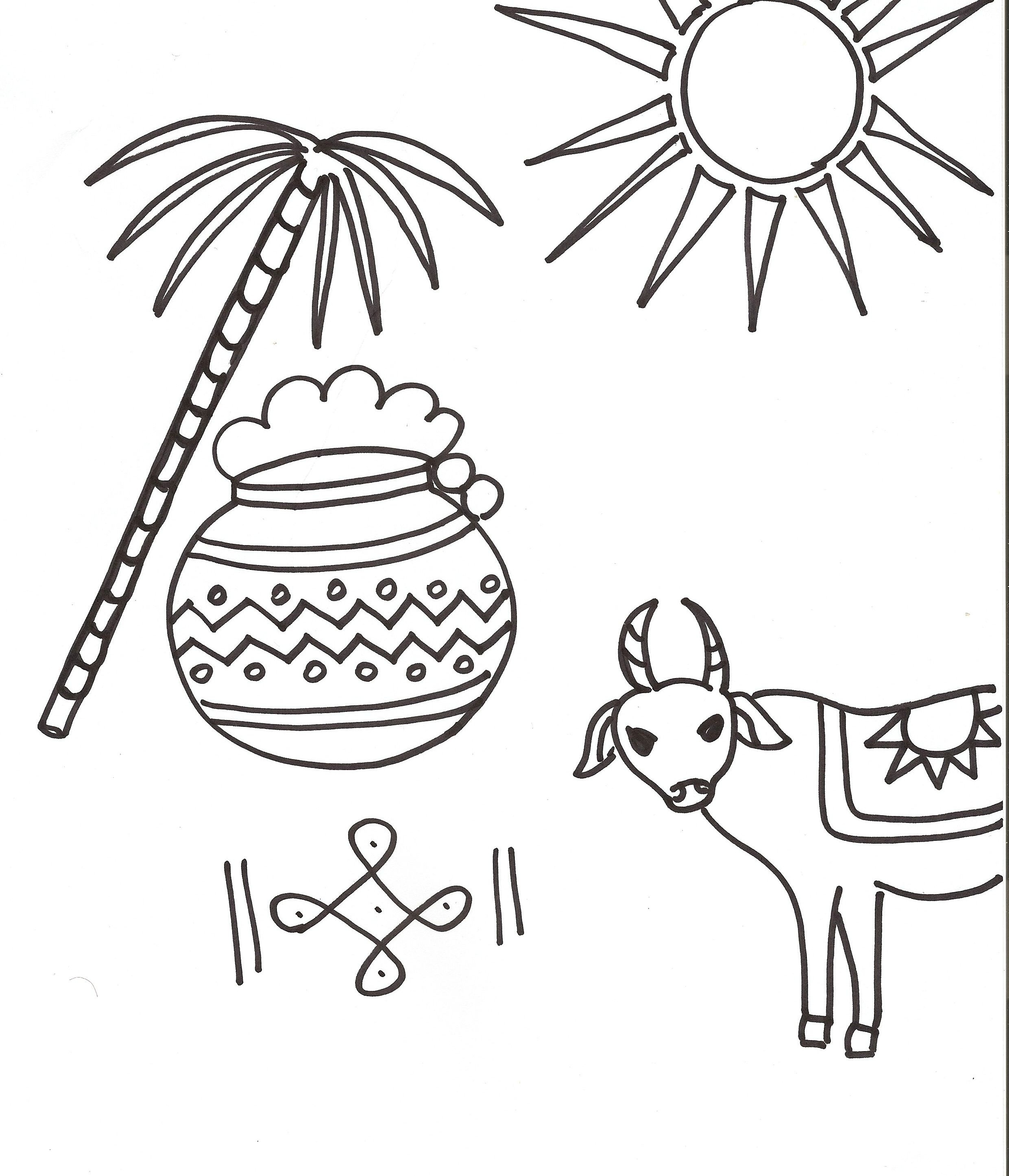 Pongal Coloring Page Download: | Indian Festivals For Kids ...