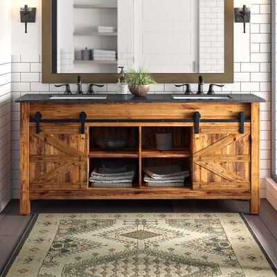 Millwood Pines Estancia Barn Door 72 Double Bathroom Vanity Set In 2021 Double Vanity Bathroom Rustic Bathroom Vanities Bathroom Vanity Designs