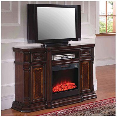 60 Console Walnut Electric Fireplace At Big Lots Fireplace Tv