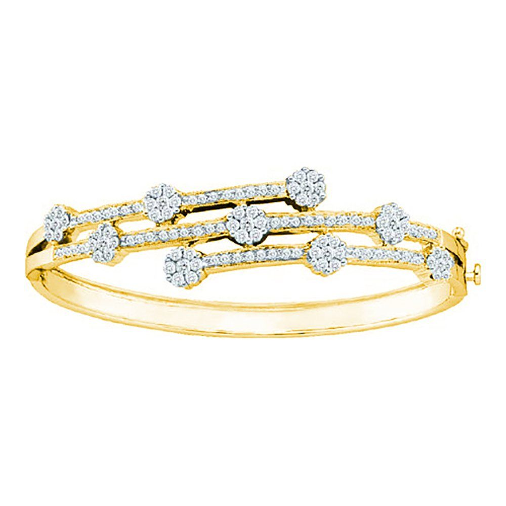 K yellow gold ct diamond floral bangle bracelet free