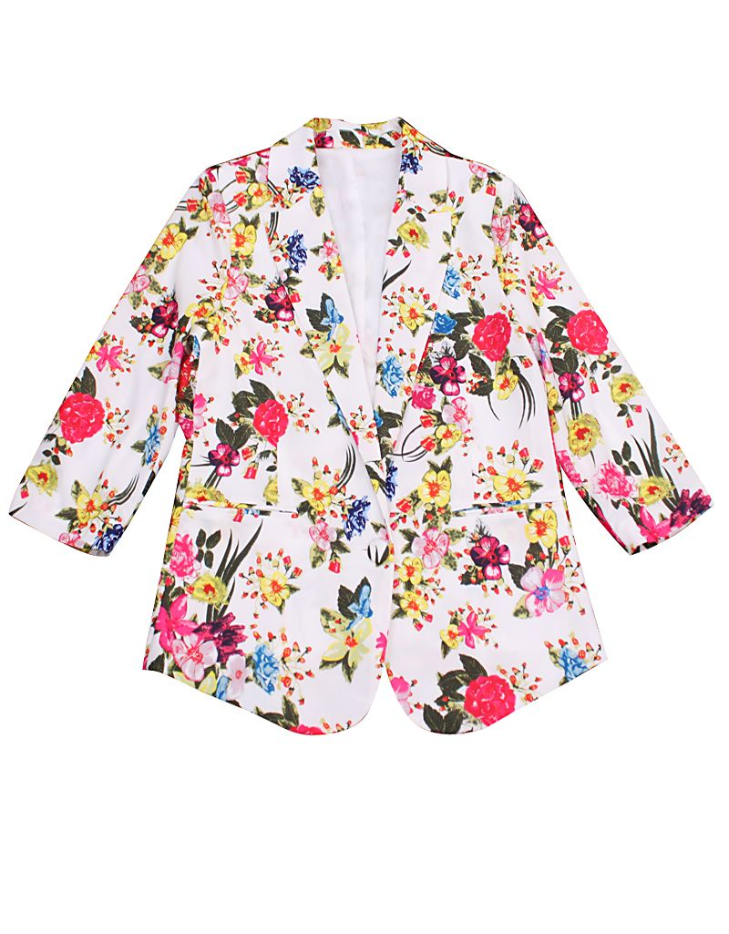 White Long Sleeve Back Split Floral Blazers