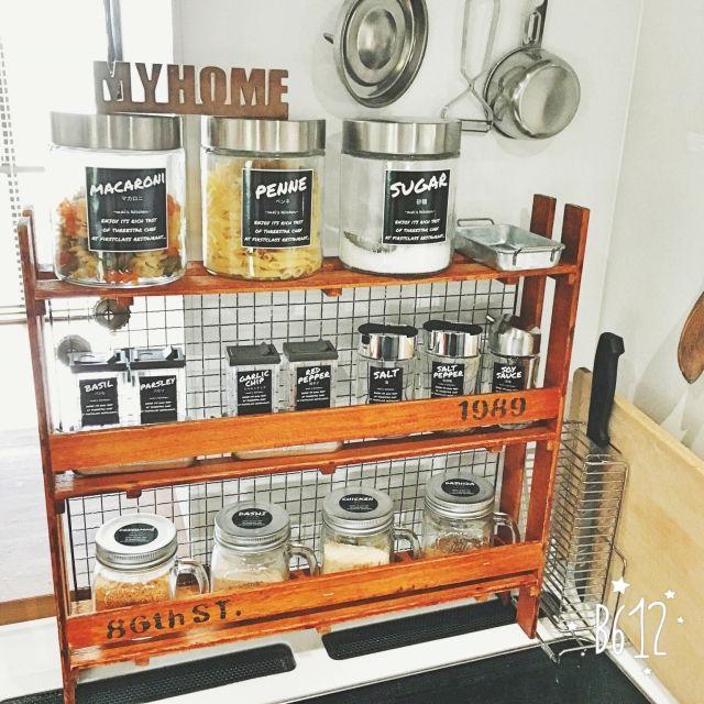 キッチン 自作ラベル セリア 収納 100均 などのインテリア実例
