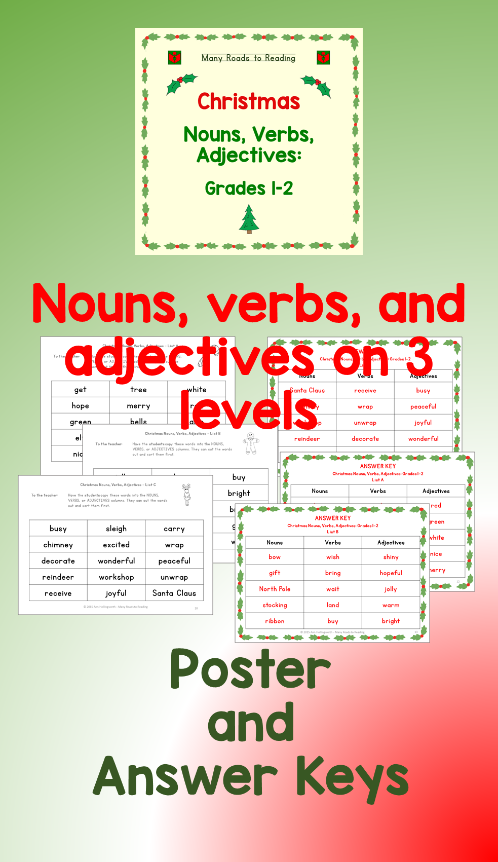 Workbooks nouns verbs adjectives worksheets : Christmas Nouns, Verbs, Adjectives: Grades 1-2 | Reading resources ...