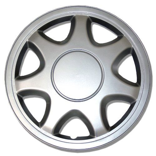 TuningPros WSC108S15 Hubcaps Wheel Skin Cover 15Inches Silver Set of 4 ** For more information · Car Wheels