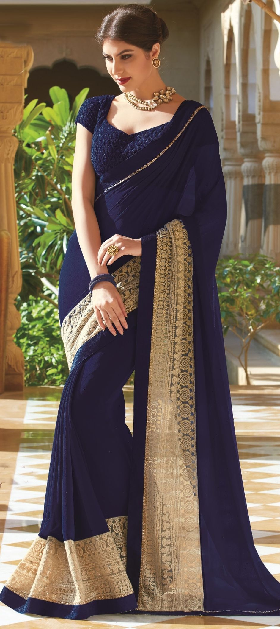7b5e8dcdfd7 754959 Blue color family Embroidered Sarees