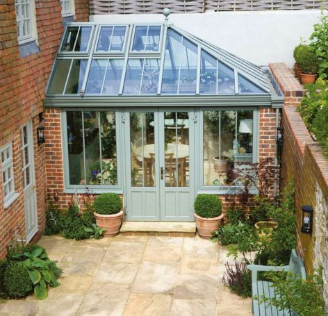 Conservatory Windows With Beautiful Colored Paint 26 Kitchen Extension Garden Room Garden Room Greenhouse Attached To House