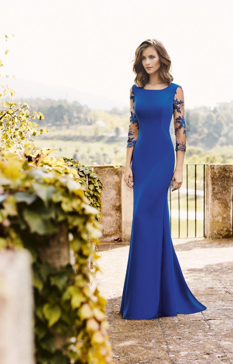 58ca30fe2 Nati Jimenez 2018 Modelo 718 Moderno vestido de fiesta de corte sirena y  manga francesa