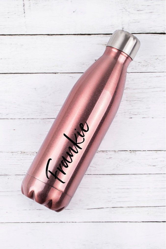 Love Rose Gold Design insulated Personalised 500ml vacuum metal water bottle