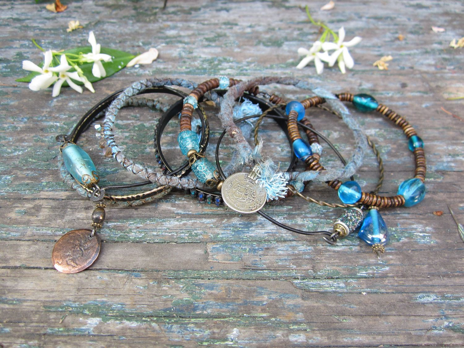 Ocean Mistress. gypsy bangle stack ethnic tribal boho assemblage. $41.99, via Etsy.