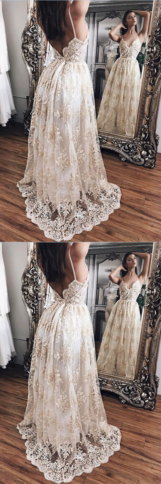 Champagne lace with white lining prom dressesprincess prom dresses