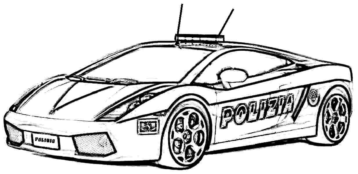 Free Download Police Car Simple Easy Coloring Pages Printable