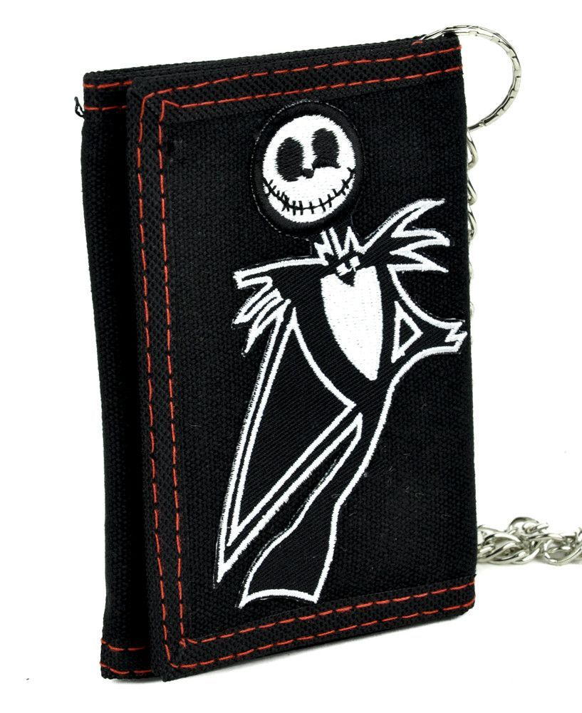 Jack Skellington Tri-fold Wallet w/ Chain Nightmare Before Christmas ...