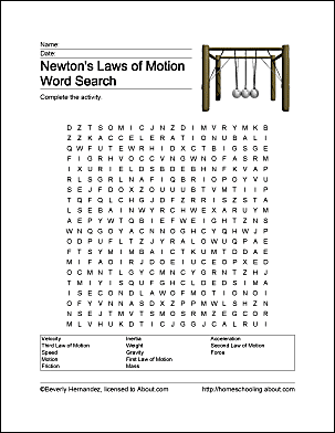 Fun Ways to Learn About Newton'-s Laws of Motion | Word search ...