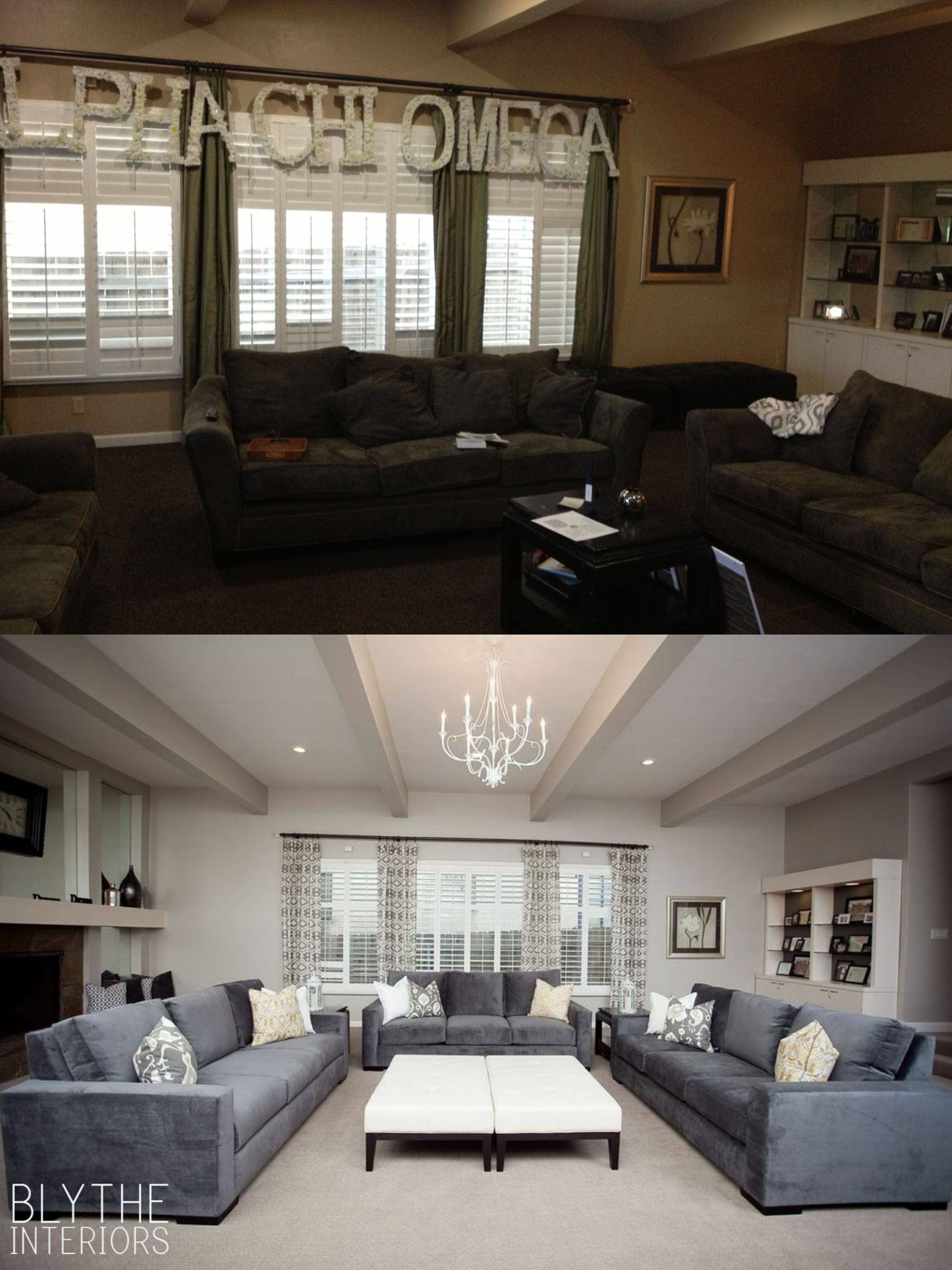 This sorority house badly needed a makeover. We replaced the dated curtains  and sofas with