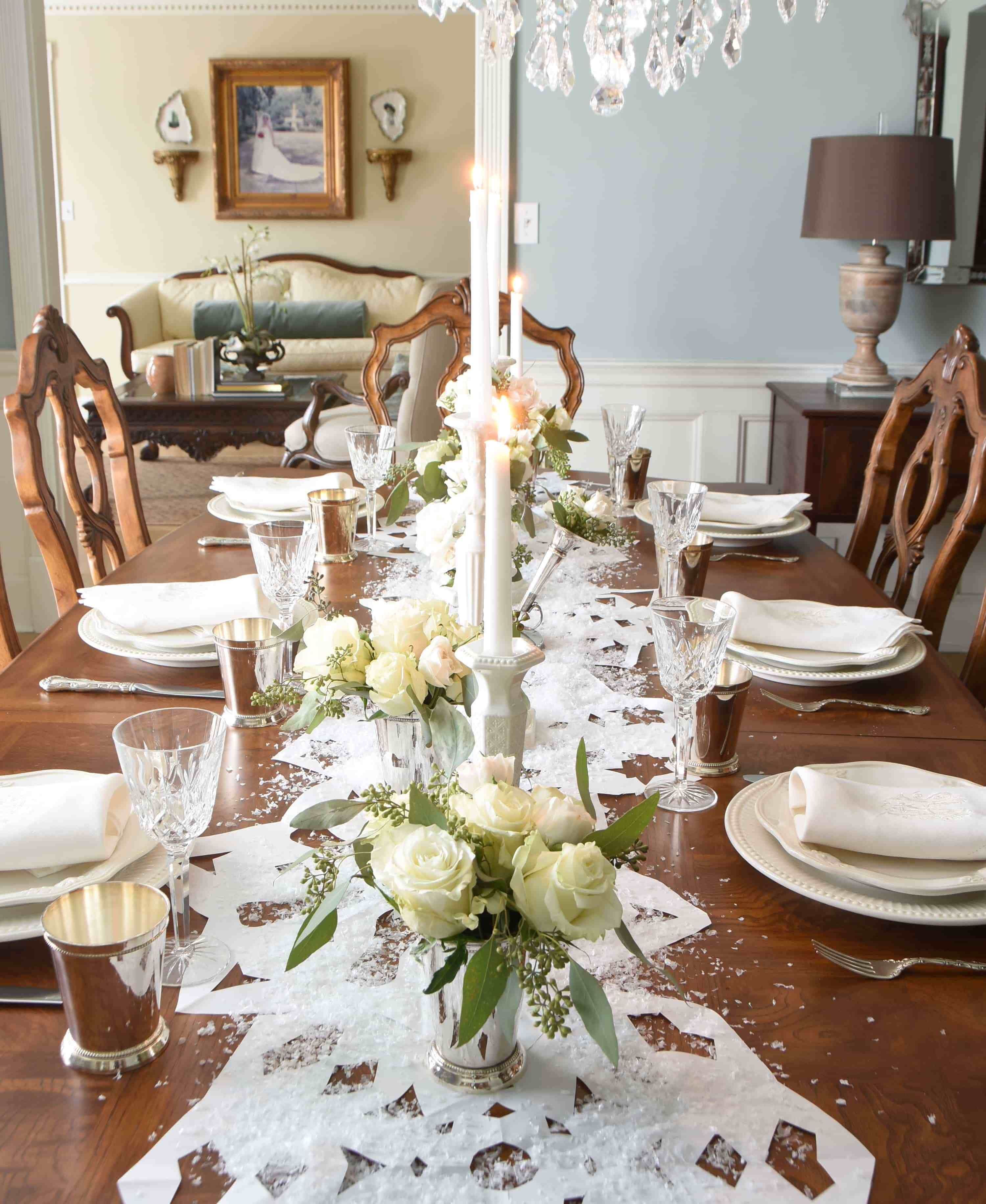 20 How To Decorate Home Interior With Faux Flowers During The Winter Formal Dining Room Table Dining Room Centerpiece Dining Room Table Decor