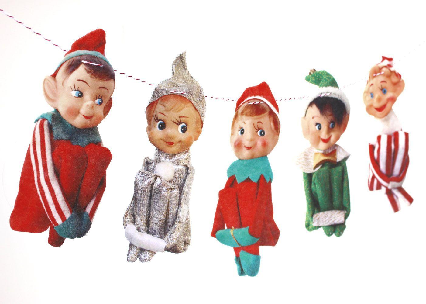 Vintage Christmas Elves Banner - photo reproductions on felt ...