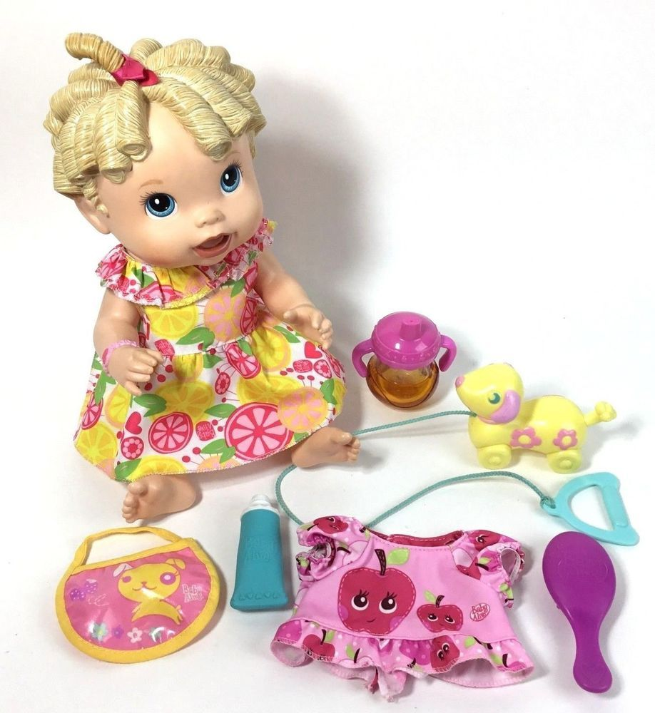 Baby Alive Doll Accessories Lot Baby All Gone Blonde W Accessories Clothes Hasbro Baby Alive Baby Alive Dolls Crochet Baby Halloween