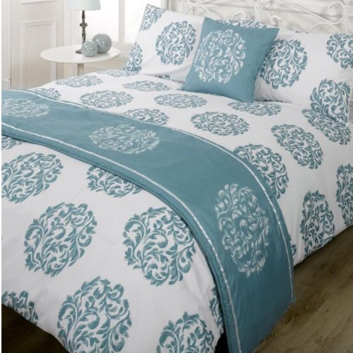 5 Piece Complete Duvet Cover Bedding Set Single Double King Kingsize Super Size Teal Bedding Quilt Sets Bedding Bed