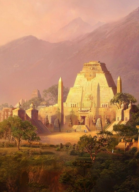aztec temple of light aztec etc fantasy landscape