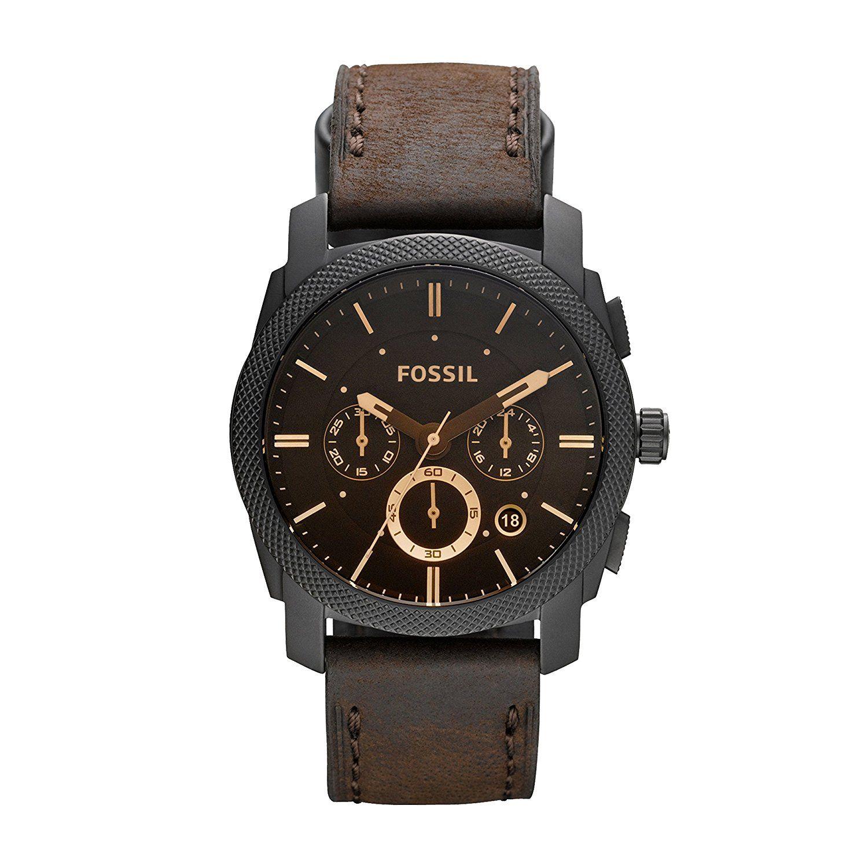Montre Fossil Homme FS4656 - Quartz - Analogique - Date - Chronomètre - Cadran en Acier inoxydable Noir - Bracelet en Cuir Marron - Étanche 5 bars.