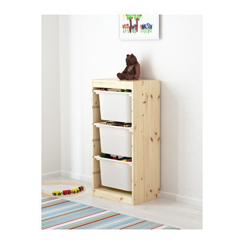 IKEA - TROFAST Storage combination with boxes pine light white ...