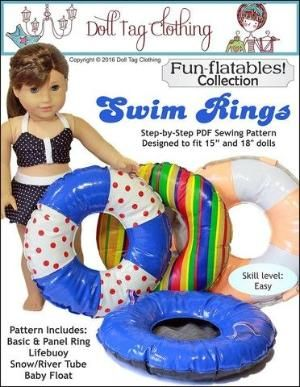 Doll Tag Clothing Swim Rings Doll Clothes Pattern 18 inch American Girl Dolls | Pixie Faire by jacklyn #dollunderware