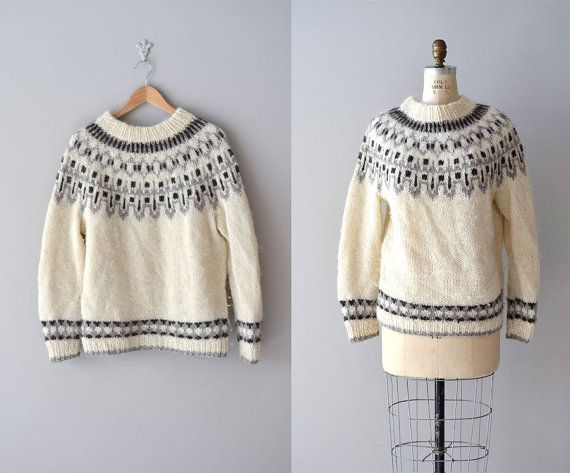 vintage 1960s cream wool sweater with classic gray Fair Isle ...