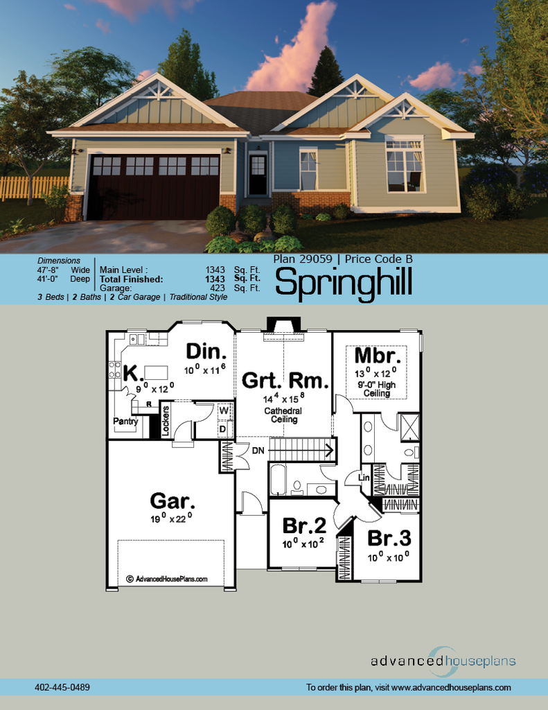 1 Story Traditional House Plan Springhill Traditional House Plans New House Plans Ranch House Plans